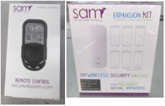 Sam Security System/ Accessory Kits/Remotes returned from stores - 2 pallets,  1828 lbs ( 1736 units)